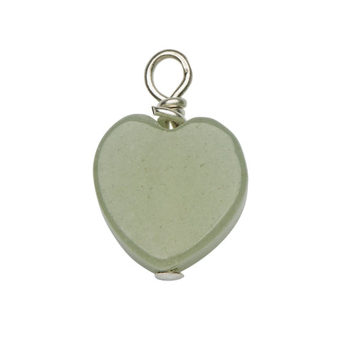 Jade Gemstone Heart Charm