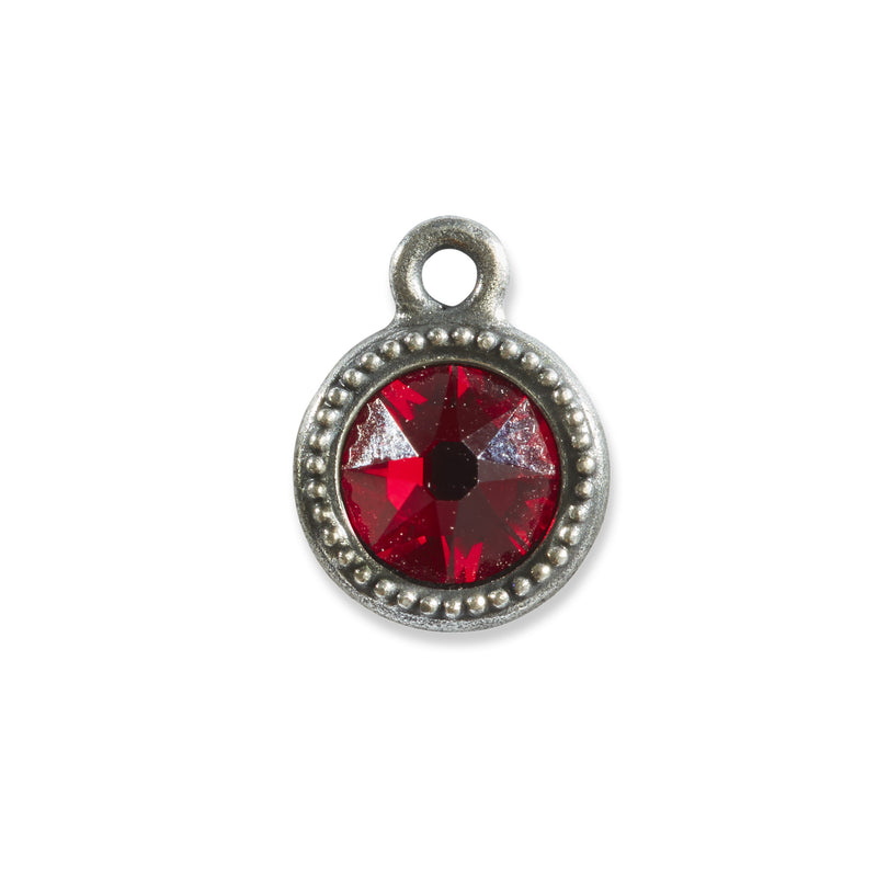 January Birthstone Red Swarovski Crystal Charm