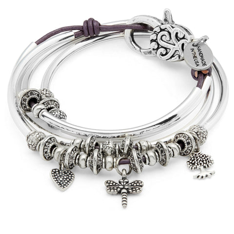 Mini Jodee Silver Wrap Bracelet w Dragonfly Heart and Tree of Life Charms in gloss purple leather