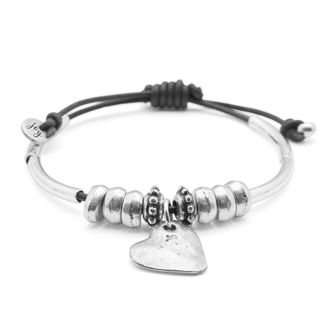 Heartfelt adjustable leather bracelet, with silver heart charm comes as shown