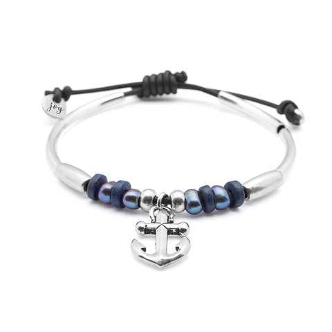Seashore adjustable leather bracelet, with anchor charm comes as shown