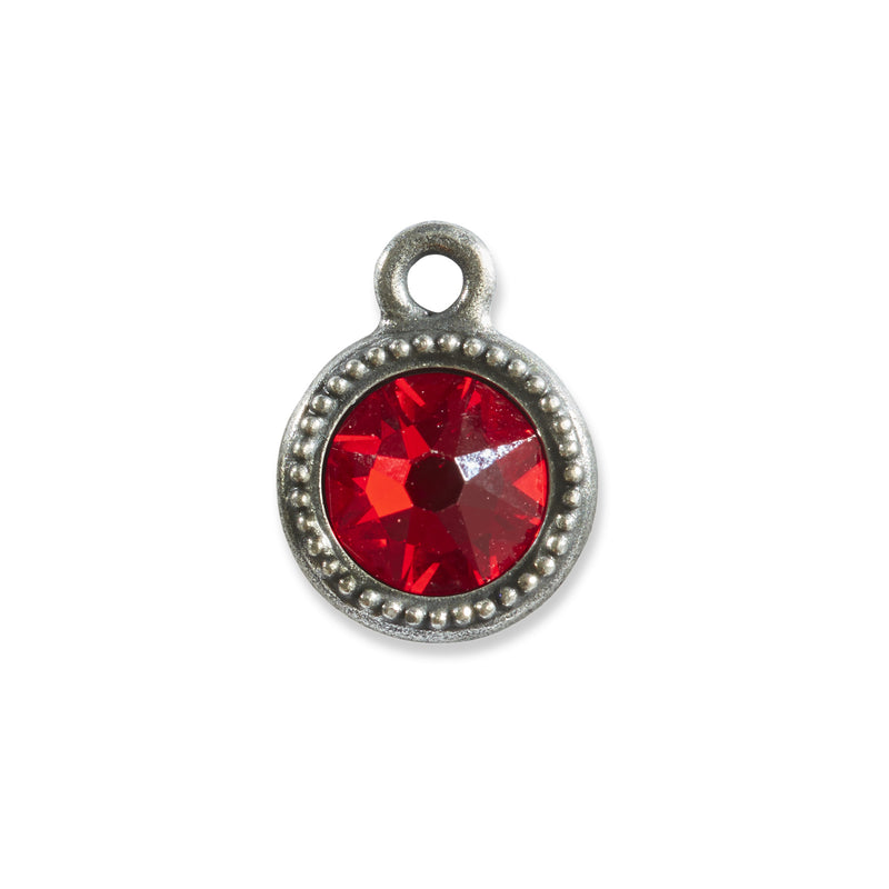 July Birthstone Red Swarovski Crystal Charm