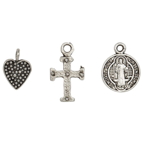 Keep the Faith Charm Trio  silver heart, cross and Saint Benedict charms