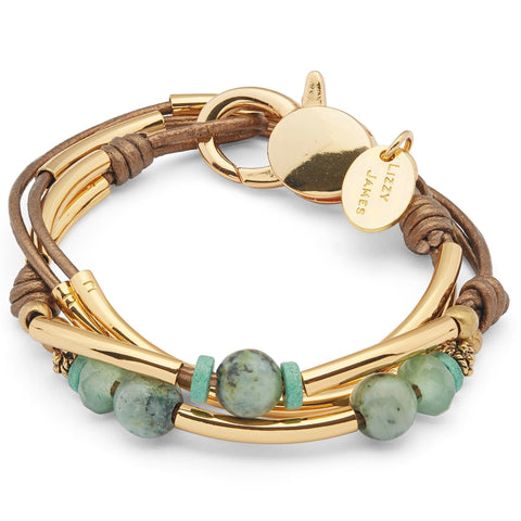 Kerry in Gold with Aventurine beads and metallic bronze leather