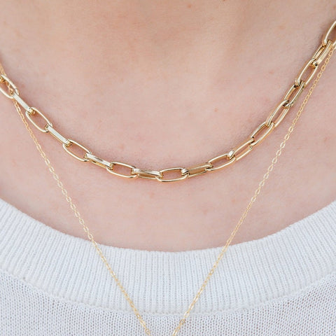 Kinsley Gold Chain Necklace paired with the CZ gold initial necklace