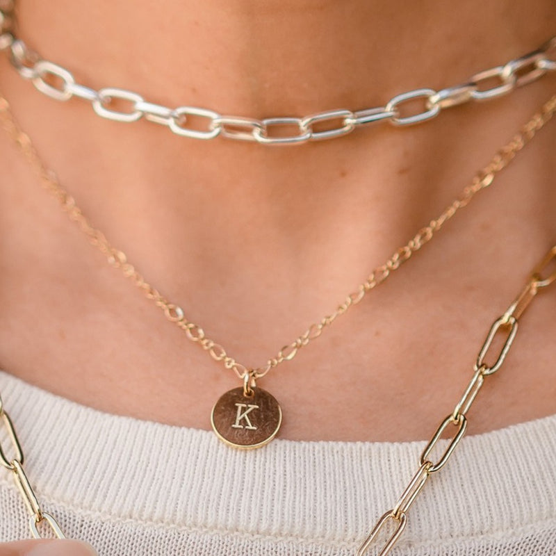 Gold Stamped Initial Necklace