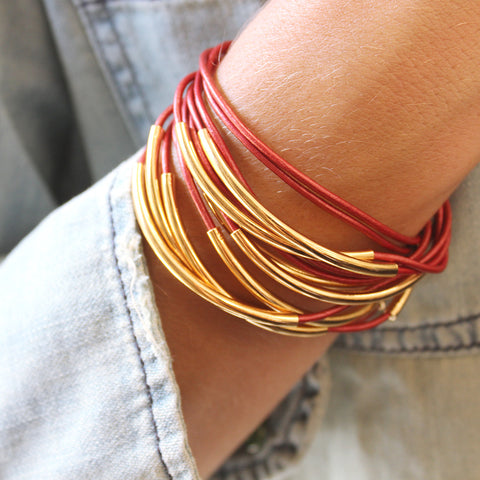 Lizzy Classic gold 4 strand wrap bracelet in Metallic Moroccan Red leather
