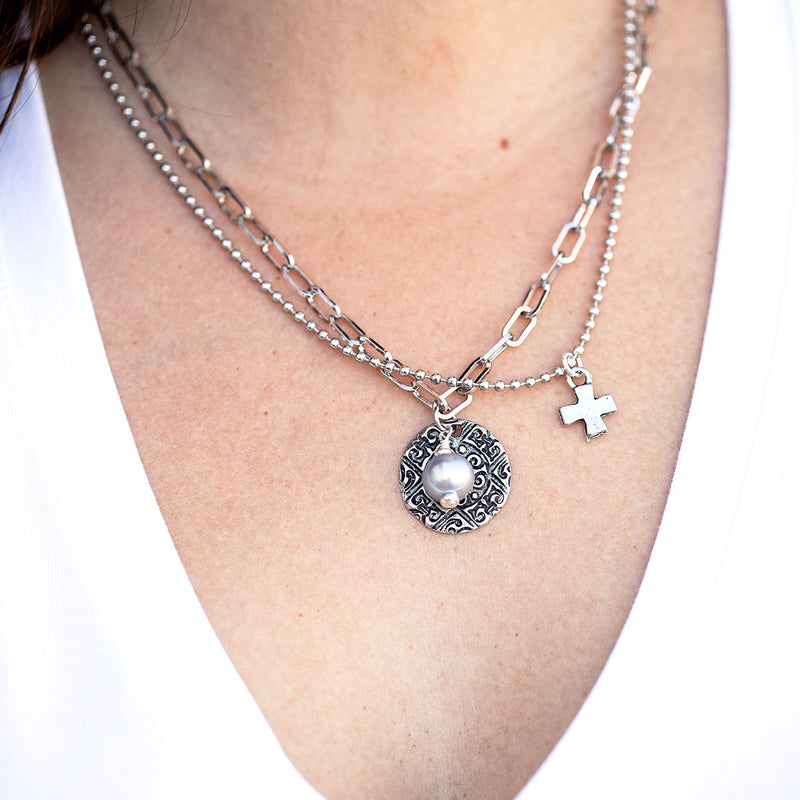 Leighton Double Silver Chain Necklace with Pearl and Cross Pendant