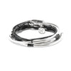 Lizzy Classic 3 strand leather wrap bracelet metallic gunmetal leather