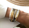 Lizzy Classic 4 Strand wrap bracelet Gold & Silver as shown in Metallic Bronze leather