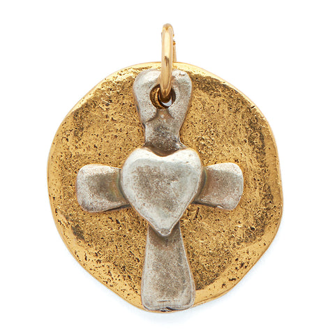 Loving Heart Cross Pendant