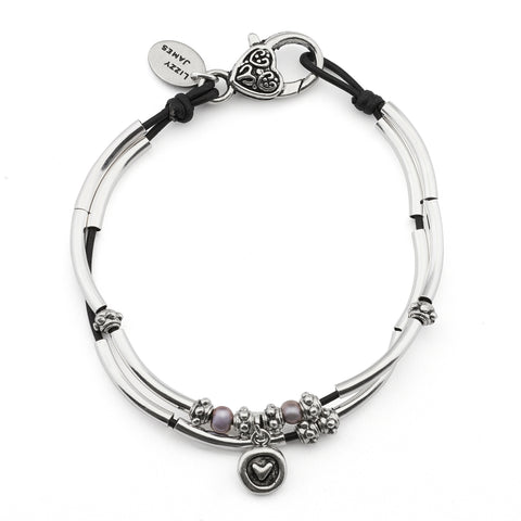Lucy Anklet in natural black leather with heart charm comes as shown