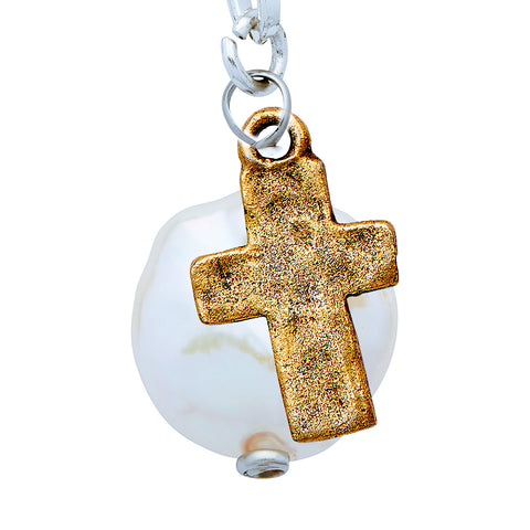 Luminous Large Freshwater Pearl and Gold Cross Pendant