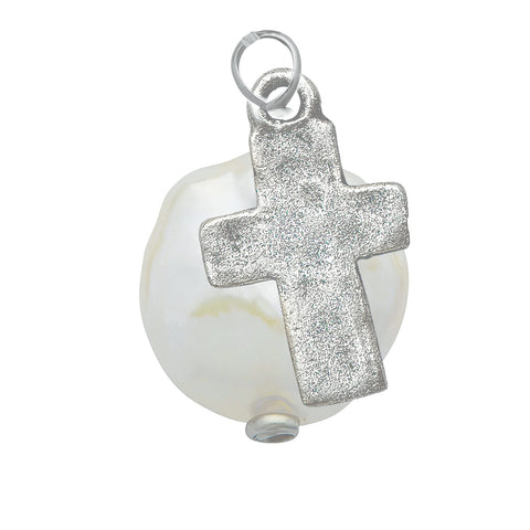 Luminous Freshwater Pearl with Silver Cross Pendant