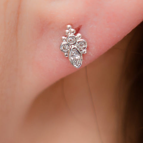 Silverplate and CZ post earrings