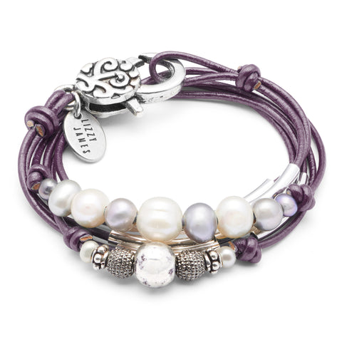 Malibu with Pearls bracelet shown in metallic berry leather