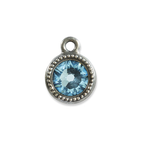 March Birthstone Aquamarine Swarovski Crystal Charm