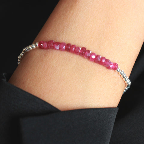 Miami Ruby and Sterling Silver Stretch Bracelet
