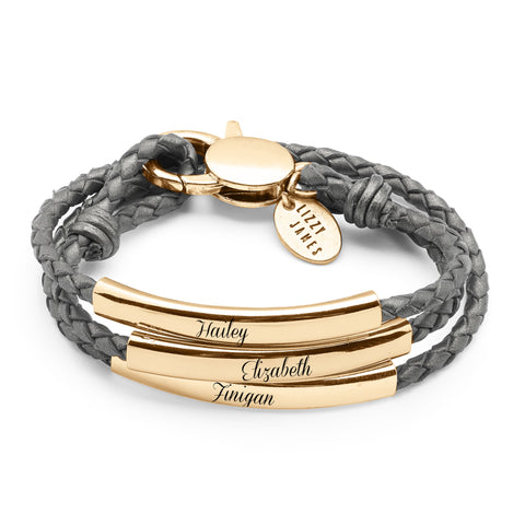 Mingle Engravable Bracelet - Gold - shown engraved in Metallic Silver leather