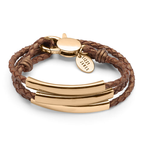 Mingle Engravable Bracelet - Gold - shown in Metallic Copper leather