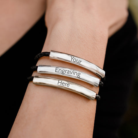 Mingle engravable leather wrap bracelet