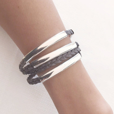 Mini Addison Silverplate wrap bracelet in Natural Gray leather