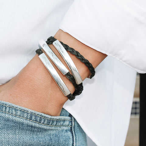 Mini Addison Silverplate wrap bracelet in Natural Black leather