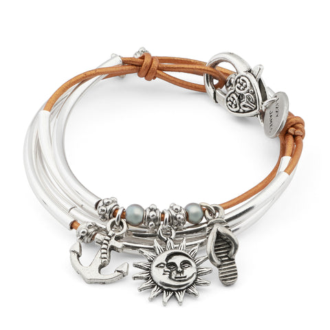 Mini Charmer with Sail Away charm trio leather wrap bracelet in Metallic Sun leather, comes as shown