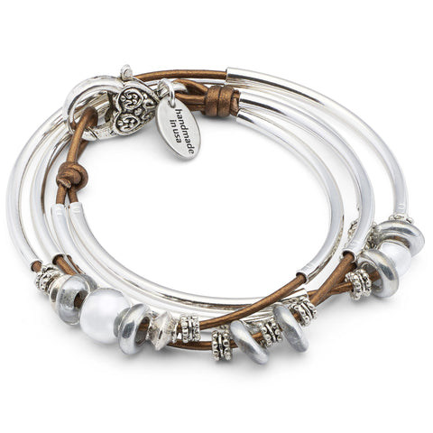 Mini Lonny silverplate leather wrap bracelet in Metallic Bronze leather, comes as shown