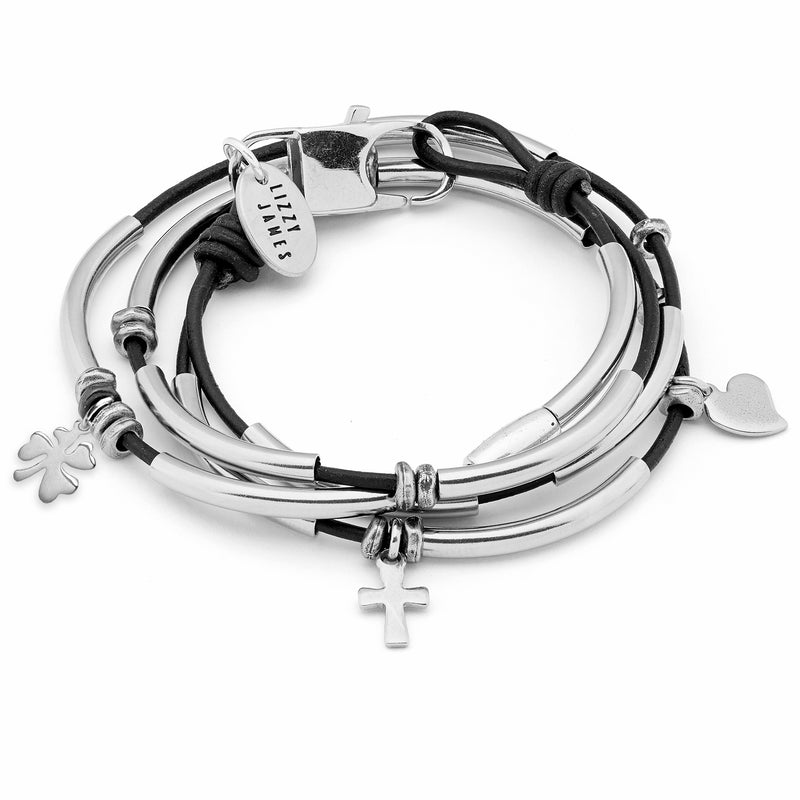 Mini Madonna in Stainless Steel with Faith Love Luck Charm Trio