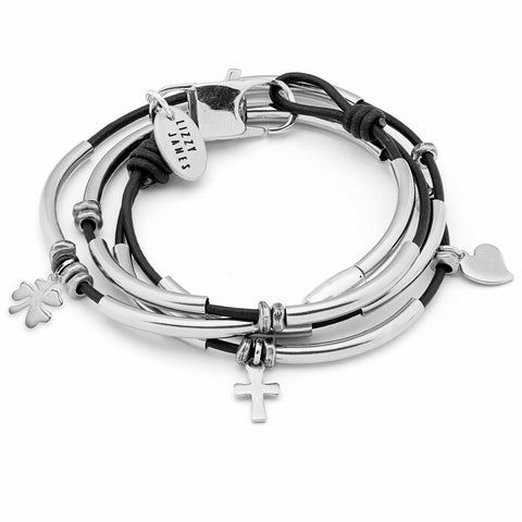 Mini Madonna Stainless Steel Wrap Bracelet w Faith Love Luck Charm Trio shown in natural black leather