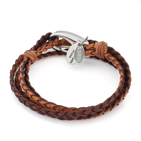 Nate 2 Strand wrap bracelet Stainless Steel clasp Natural Antique Brown leather, comes as shown
