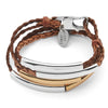 Mini Addison Braided wrap bracelet Gold & Silverplate, shown in Natural Antique Brown leather