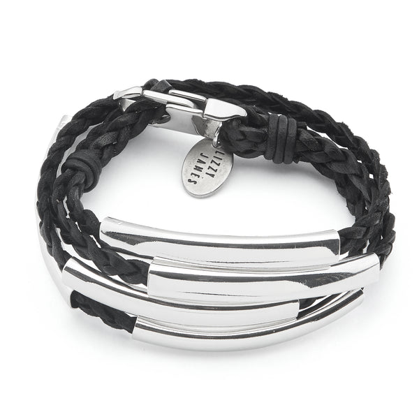 Mini Addison Braided Wrap In Silverplate Lizzy James