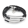 Mini Addison braided leather wrap bracelet Silver shown in Natural Black Leather