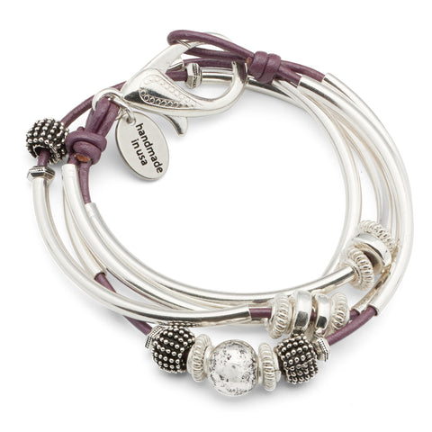 Mini Ginger wrap bracelet shown in Metallic Berry leather
