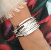 Mini Lexi 5 Strand leather wrap bracelet in Metallic Maroon Leather