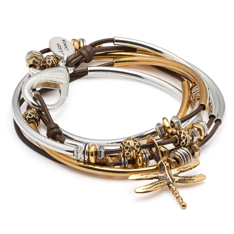 misty 2 strand wrap bracelet with gold dragonfly charm in gloss chocolate leather, comes as shown