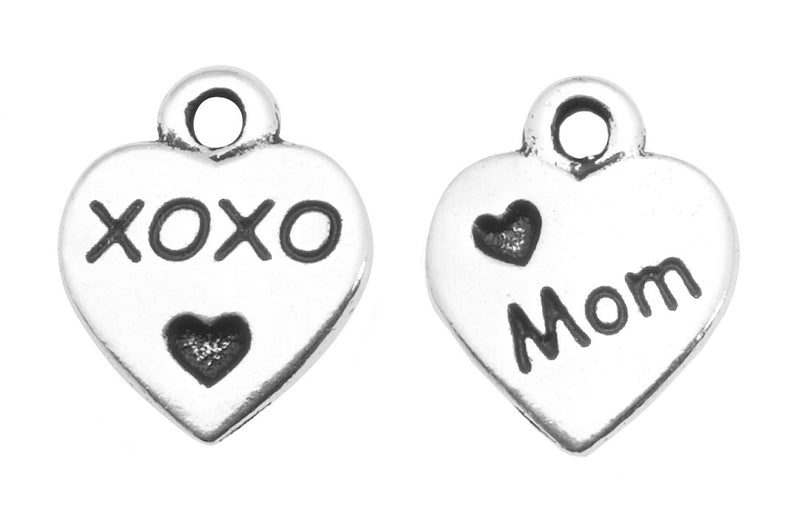 Mom Heart Charm in Silver