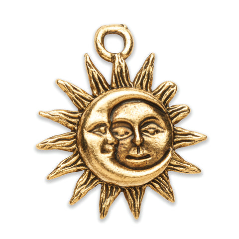Moon Sun Charm in Goldplate