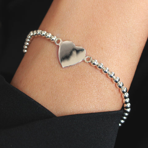 Nashville Sterling Silver Heart Stretch Bracelet