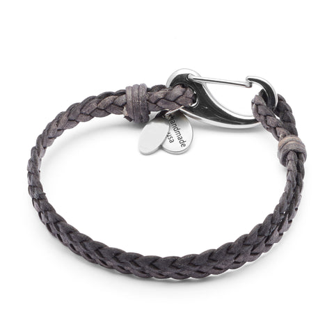 Nick braided leather bracelet in Natural Grey leather with stainless steel clasp, comes as shown