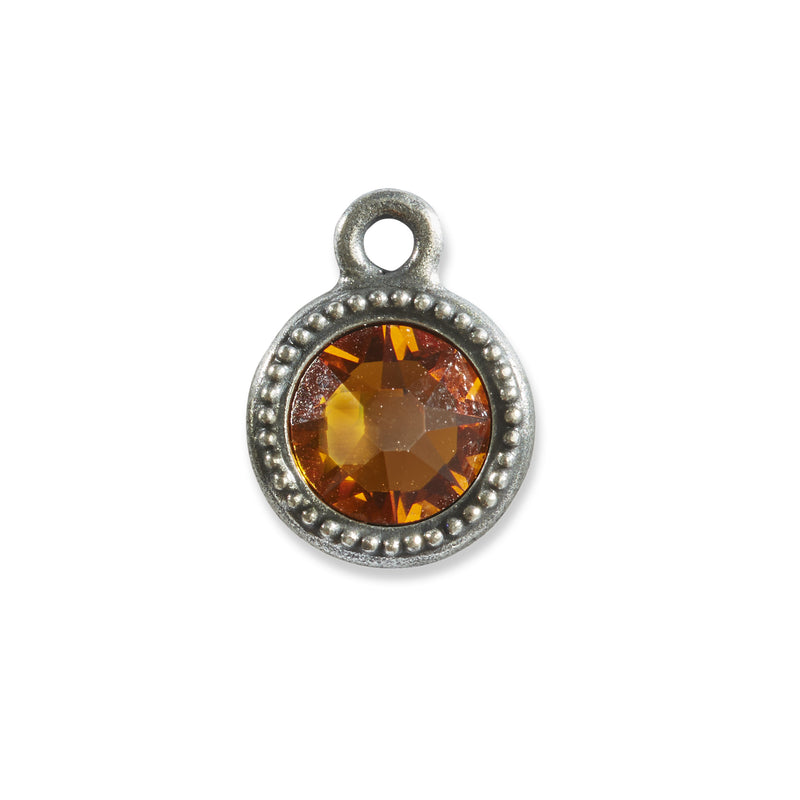 November Birthstone Orange Swarovski Crystal Charm