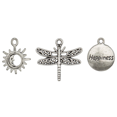 Ornate Dragonfly Charm Trio  sun moon, dragonfly and happiness charms
