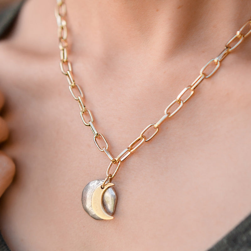 Daily Luxe 18k Gold plated Adjustable Necklace with Over the Moon Pendant