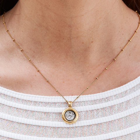 Paige Antique Gold Adjustable Necklace with Coin Pendant