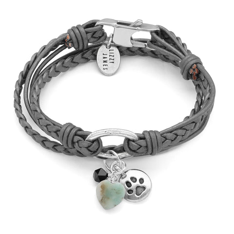 Mini Paisley braided leather wrap bracelet with paw and amazonite heart charms. Shown in metallic silver leather.