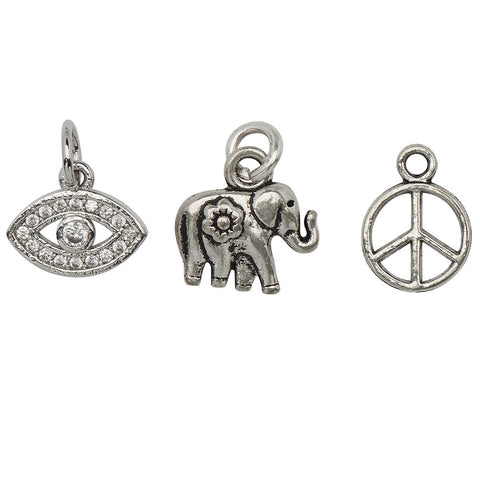 Peace Keeper Charm Trio  fancy evil eye, elephant and peace sign charms