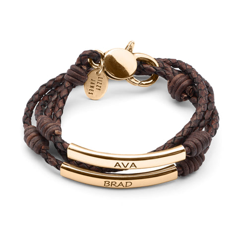 Perfect Pair Engravable Bracelet - Gold - shown engraved