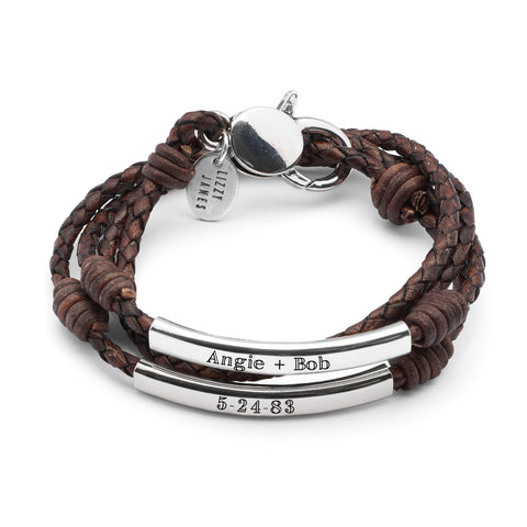 Perfect Pair Engravable Bracelet - Silver - shown engraved